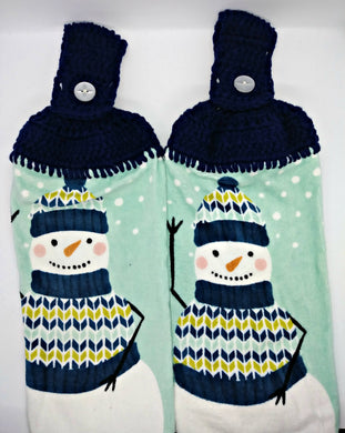 Winter Snowman Hanging Kitchen Towel Set