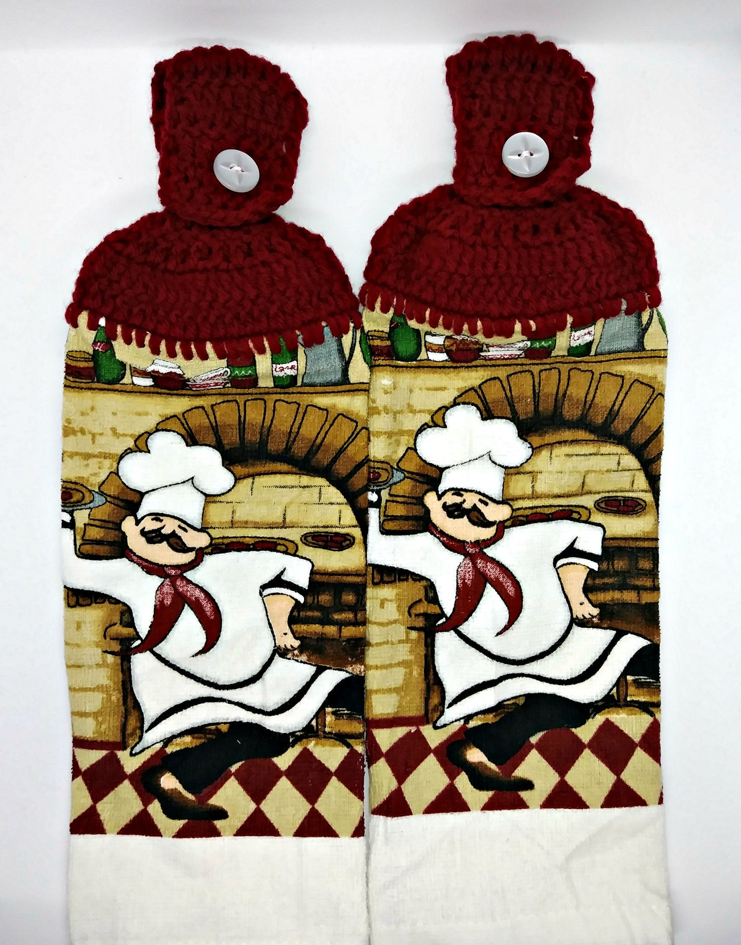 Italian Pizza Chef Hanging Kitchen Towel Set