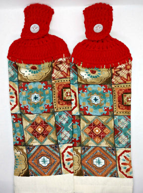 Pretty Mosaic Tile Hanging Kitchen Towel Set