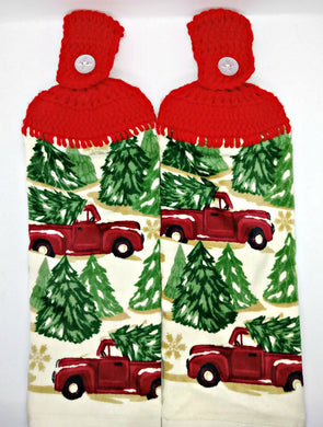 Old Red  Pickup Truck Christmas Trees Hanging Kitchen Towel Set