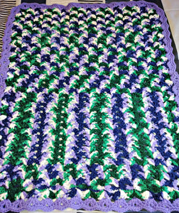 "Grape Ivy Purple Green White Baby Blanket 24""x30"""