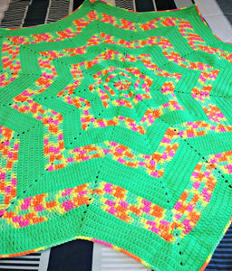 "12 pt. Star Ripple Neon Green Baby Blanket 46""x46"""