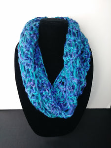 Blues & Purples Winter Infinity Scarf Cowl