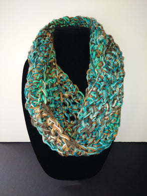 Teal & Brown Winter Infinity Scarf Cowl