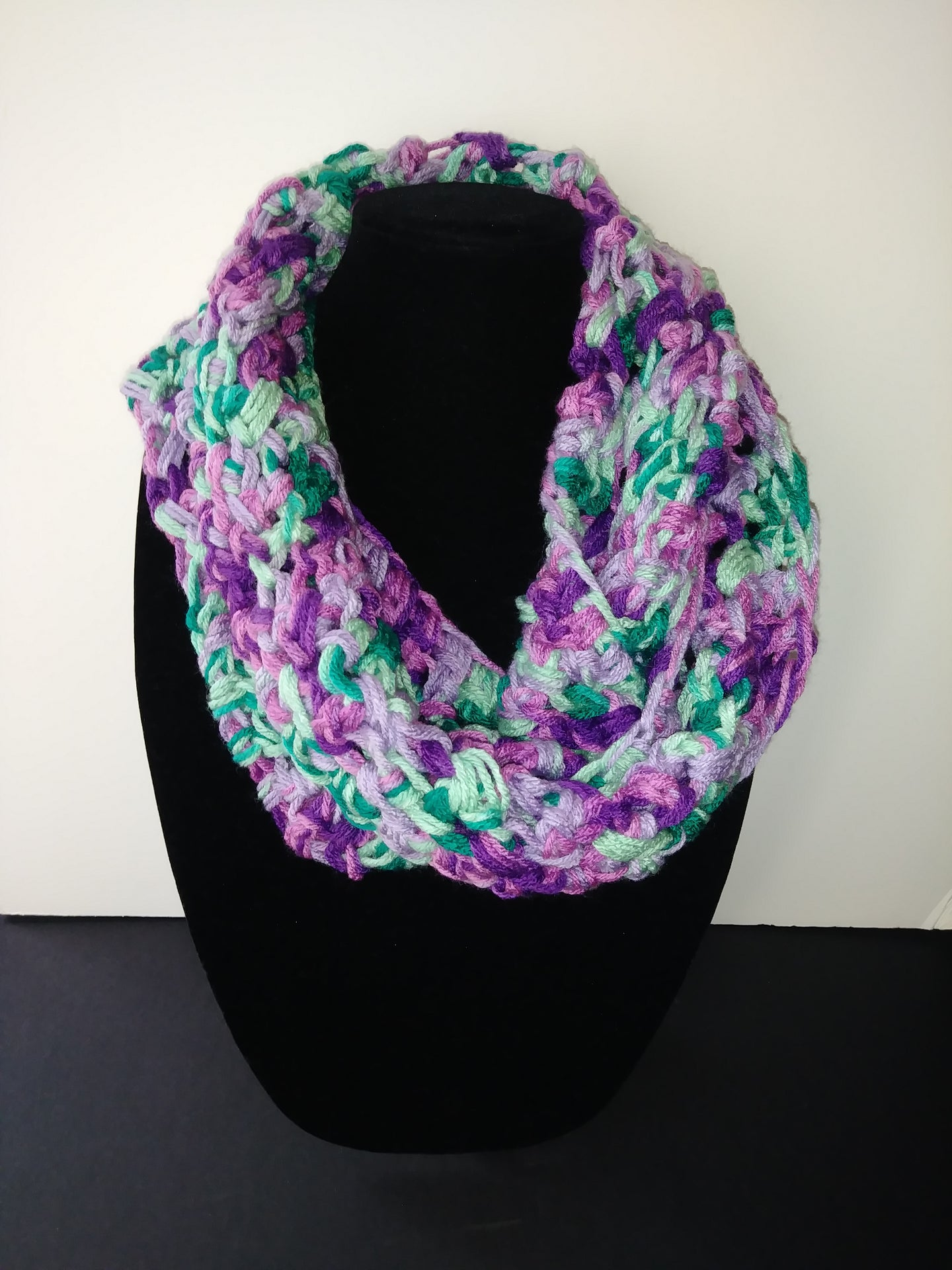 Fantasy Pink Purples & Green Teal Winter Infinity Scarf Cowl