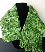 Load image into Gallery viewer, Green Variegated Winter Unisex Scarf with Fringe