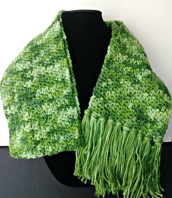 Green Variegated Winter Unisex Scarf with Fringe