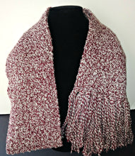 Load image into Gallery viewer, Red & White Variegated Winter Unisex Scarf with Fringe