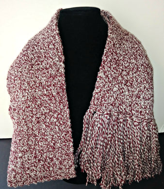 Red & White Variegated Winter Unisex Scarf with Fringe