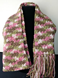 Pink Camo Variegated Winter Teen Ladies Scarf with Fringe