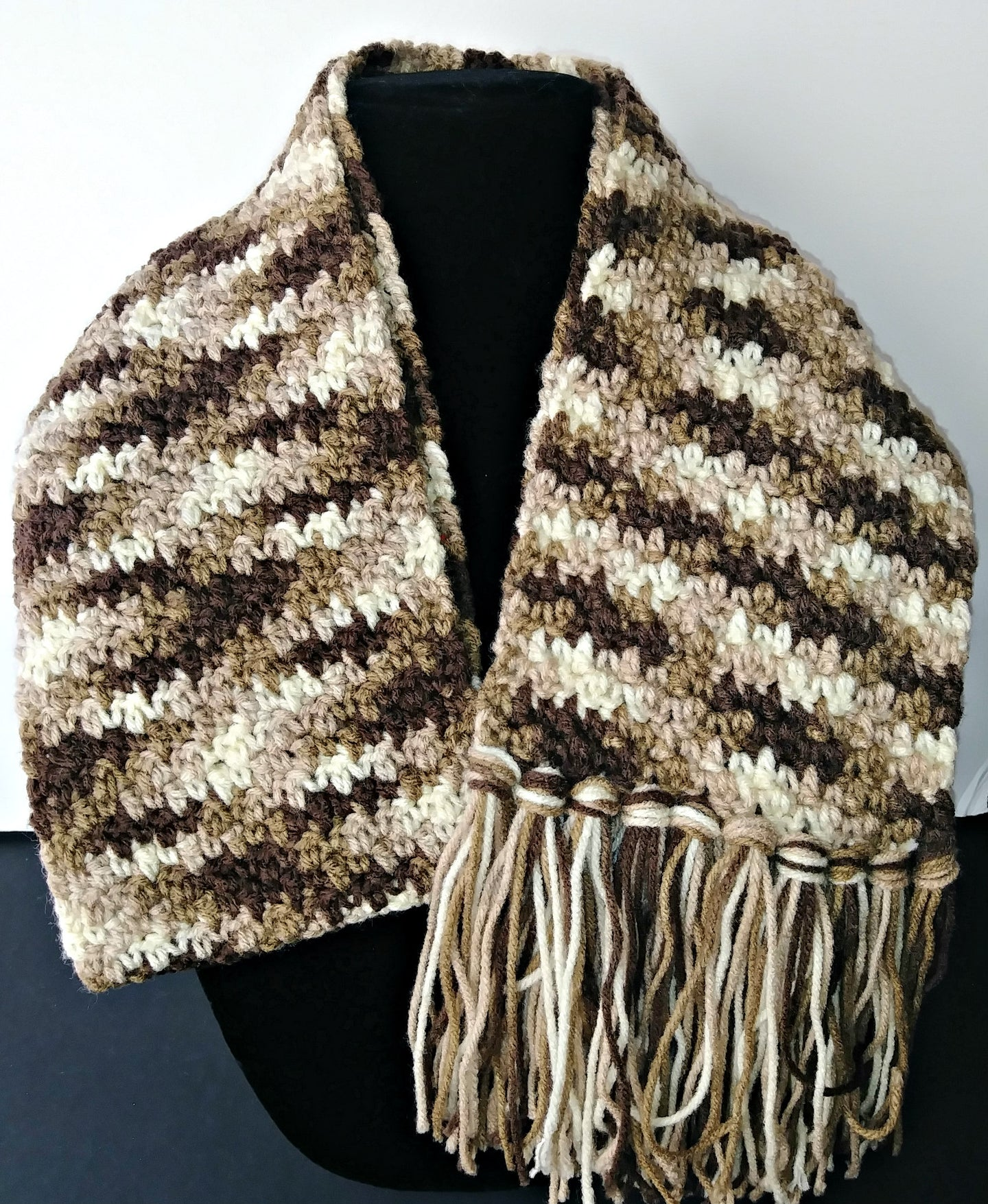 Browns Variegated Winter Unisex Scarf with Fringe