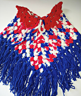 Girls Poncho Size 4-6 Red White Blue Patriotic