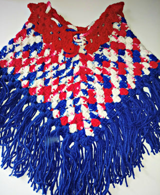 Baby Girls Poncho Size 24 Months Red White Blue Patriotic