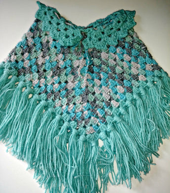 Girls Poncho Size 4-6 Icelandic Aruba Sea Blues & Grays