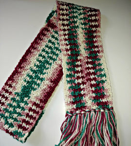 Pink White Burgundy Teal Variegated Winter Scarf with Fringe