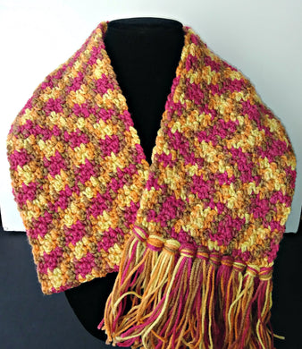 Magenta, Yellow Brown Variegated Winter Scarf with Fringe