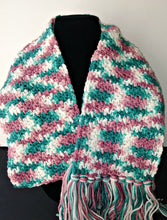 Load image into Gallery viewer, Rambling Rose Pink White Teal Variegated Winter Scarf with Fringe