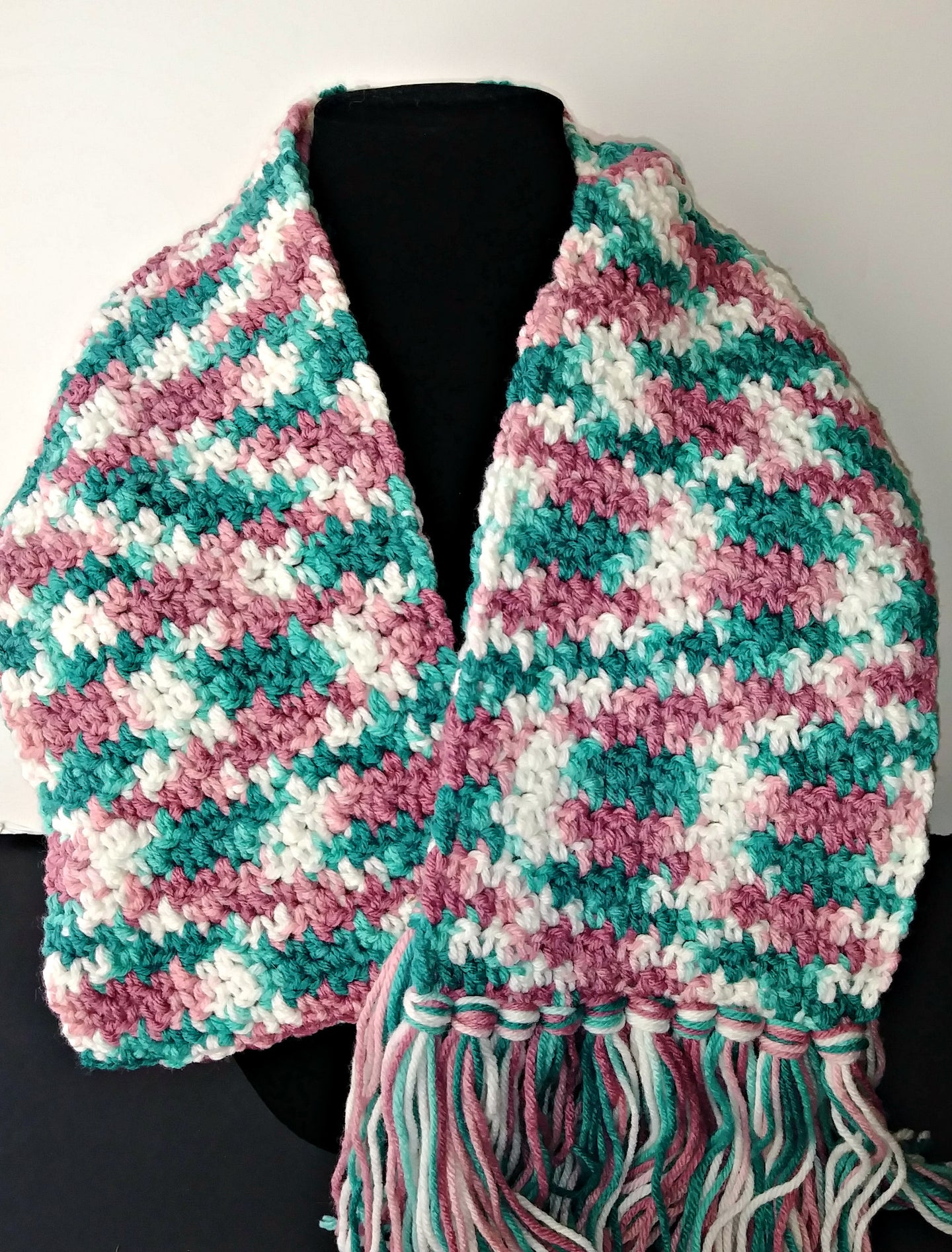 Rambling Rose Pink White Teal Variegated Winter Scarf with Fringe