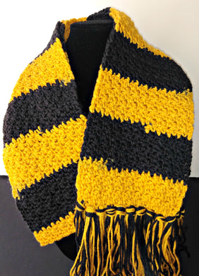 Yellow Black Team Colors Variegated Winter Scarf with Fringe Unisex