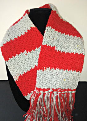 Red & Silver Team Spirit Variegated Winter Scarf with Fringe Unisex