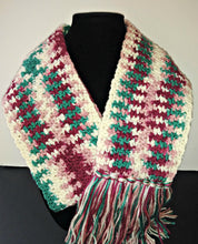 Load image into Gallery viewer, Pink White Burgundy Teal Variegated Winter Scarf with Fringe