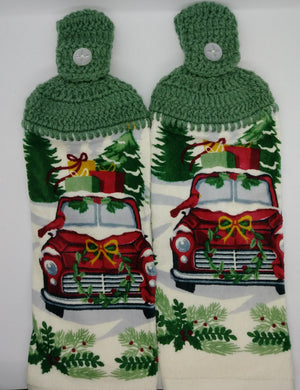 Old Red Pick Up Truck Christmas Kitchen Towel Set