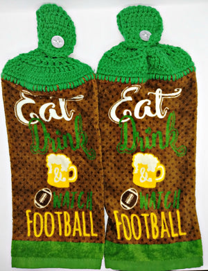 Eat Drink Watch Football Hanging Kitchen Towel Set