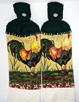 Country Rooster Hanging Kitchen Towel Set