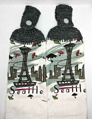 Seattle Space Needle Scene Hanging Kitchen Towel Set