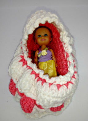 Little Girl's Bassinette Purse With Doll
