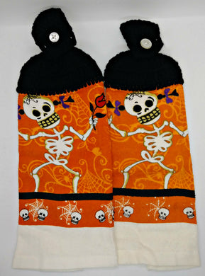 Skeleton Girl With Rose Hanging Kitchen Towel Set