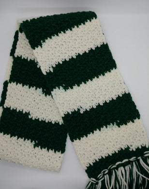 White & Green Variegated Winter Unisex Scarf with Fringe