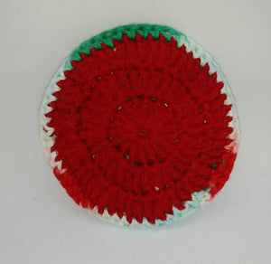 Christmas Variegated Red Cotton & Nylon Dish Scrubbies