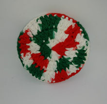 Load image into Gallery viewer, Christmas Colors & Dark Hunter Green Cotton & Nylon Dish Scrubbies