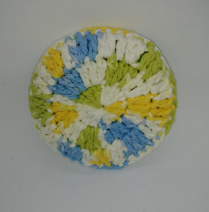 Lime Green Yellow Blue & White Cotton & Nylon Dish Scrubbies