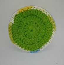 Load image into Gallery viewer, Lime Green Yellow Blue & White Cotton & Nylon Dish Scrubbies