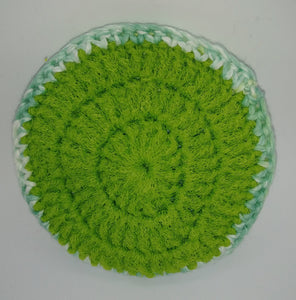 Lime Green Blue Cotton & Nylon Dish Scrubbies
