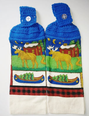 Rustic Wildlife Elk Cabin Hanging Kitchen Towel Set