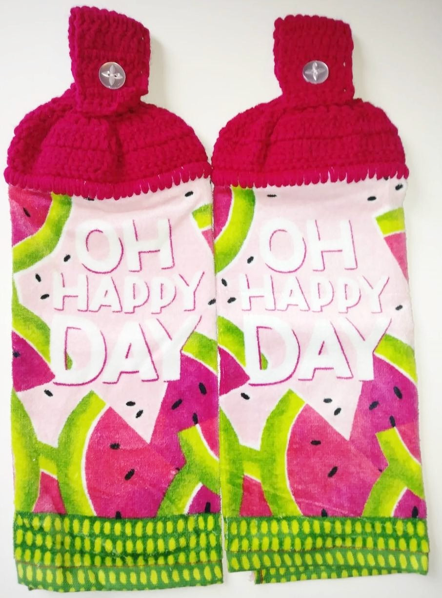 Watermelon Slices O Happy Day Hanging Kitchen Towel Set