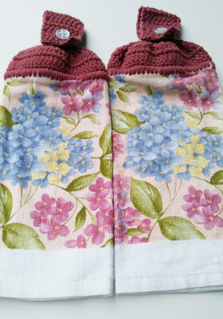 Pink Blue Hydrangea Flowers Hanging Kitchen Towel Set