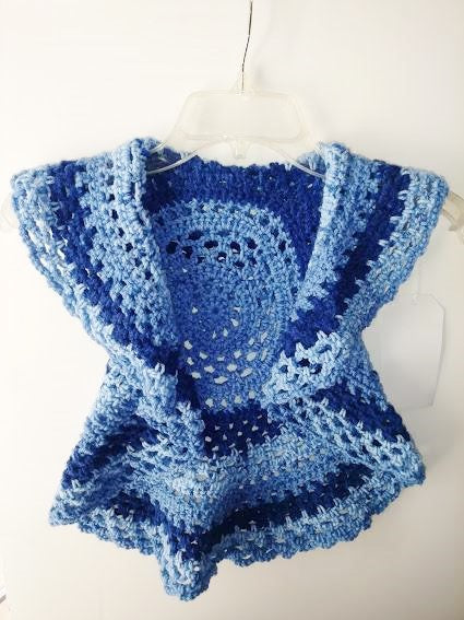 Girls Ring Around The Rosie Vest Size 5T Blue Variegated Circle Vest
