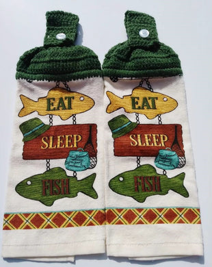 Eat Sleep Fish Sign  Hanging Kitchen Towel Set