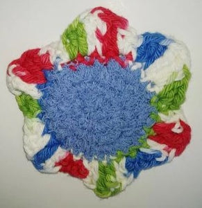 "Flower Kitchen Durable Dish  Pot Scrubbies 4"" x 4"" Red Blue White Lime Green"