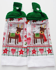 Folk Art Christmas Reindeer Hanging Kitchen Towel Set