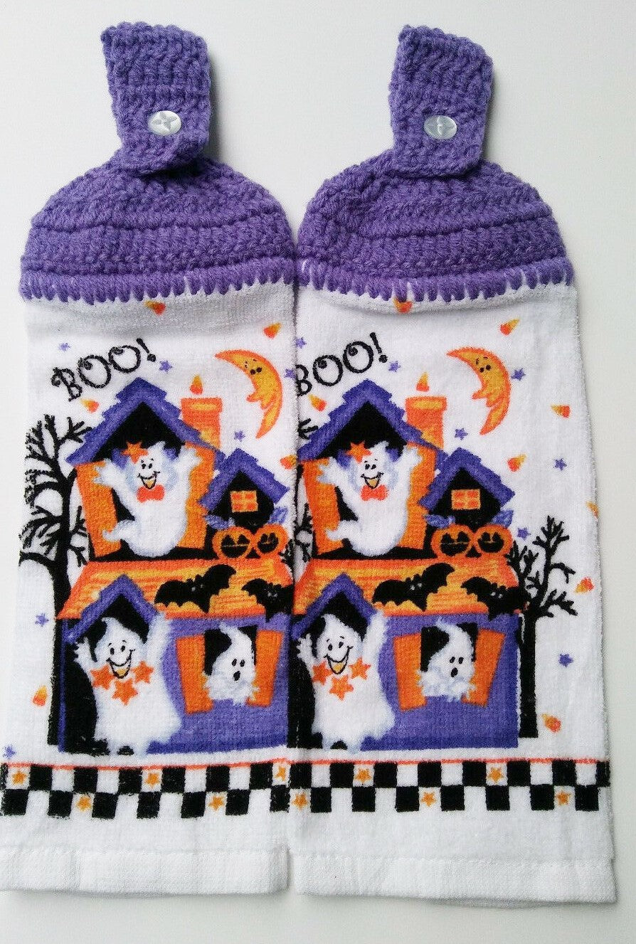 Haunted House Ghosts Halloween Hanging Kitchen Towel Set