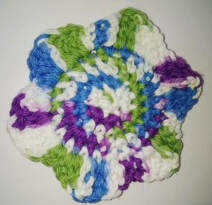 "Flower Kitchen Durable Dish Pot Scrubbies 4"" x 4"" Green Blue Purple"