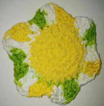 "Load image into Gallery viewer, Flower Kitchen Durable Dish Pot Scrubbies 4"" x 4"" Yellow Lime Green White"