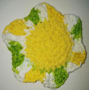 "Flower Kitchen Durable Dish Pot Scrubbies 4"" x 4"" Yellow Lime Green White"
