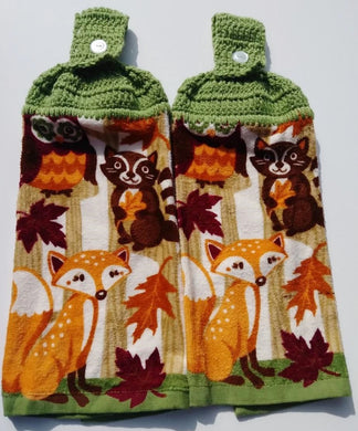 Fall Thanksgiving Woodland Animals Fox Owl Raccoon Hanging Kitchen Towel Sets