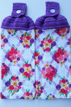 Load image into Gallery viewer, Floral Flowers Purple Coral Yellow Hanging Kitchen Towel Set